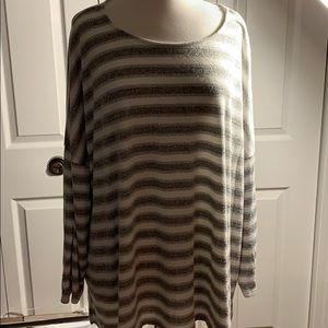 AVA & VIV 4X grey & white striped sweater